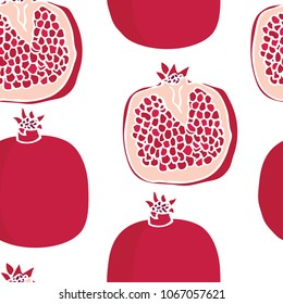 Food collection Pomegranates Seamless pattern