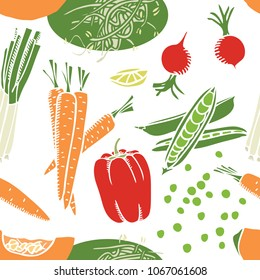 Food collection Pumpkin, carrots and soybean sprouts Seamless pattern