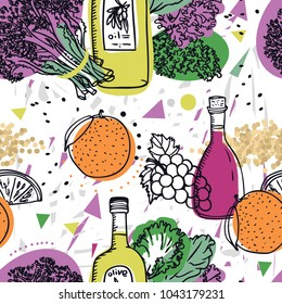 Food Collection Purple sprouting broccoli with quinoa, olive oil and oranges Seamless pattern