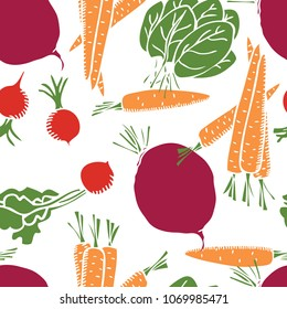 Food collection Sweet carrots, radishes and beetroot Seamless pattern