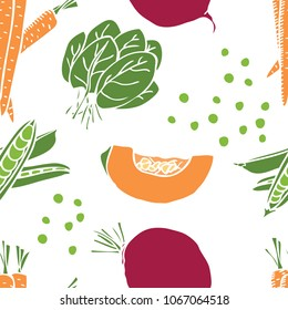 Food collection Sweet pepper and beetroot Seamless pattern