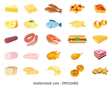 Food. Color image food, icons, schematic image of the food