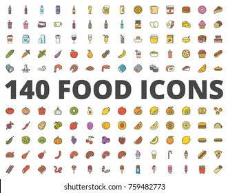 Food colored icon meat and icecream sweets, fish