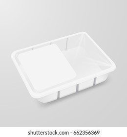 Food container mock up. Plastic empty box for meat, chicken, dinner, lunch. Vector illustration of box with wrap, label.