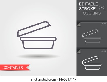 Food container. Outline icon with editable stroke. Linear symbol of the kitchen and cooking with shadow
