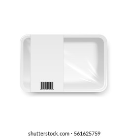 Food container with Stretch wrap and barcode, top view, vector template, isolated on white