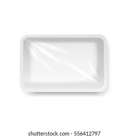 Food container with Stretch wrap, top view, vector template, isolated on white