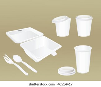 food container,plastic spoon,fork and cup