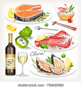 Food cooked dishes festive holiday celebration set collection salmon seafood lobster oysters wine zongzi roll