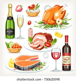 Food cooked dishes festive holiday celebration set collection chicken salmon meat cold-boiled pork champagne wine tartlet