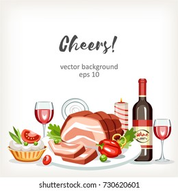 Food cooked dishes festive holiday celebration background with boiled pork red wine bottle tartlet and candle