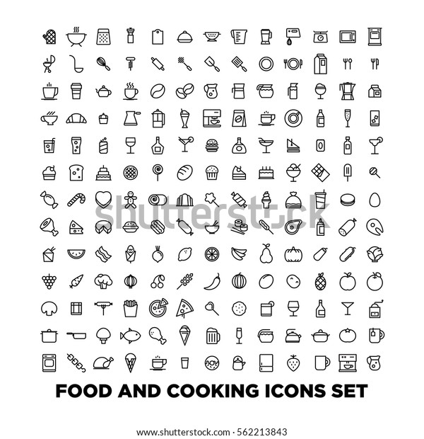 Food and cooking icons set