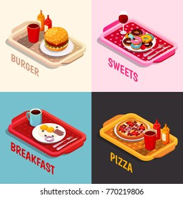 Food cooking isometric concept including platters with burger, sweets and wine, breakfast, pizza isolated vector illustration