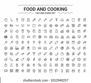 Food and Cooking minimalism icon set