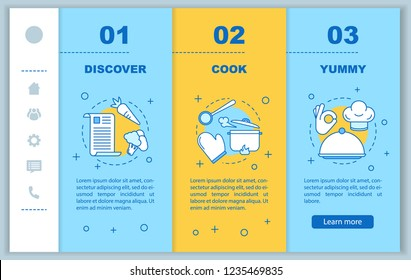 Food cooking onboarding mobile web pages vector template. Find recipes, meal preparation, delicious dish. Responsive smartphone website interface idea. Webpage walkthrough step screens. Color concept
