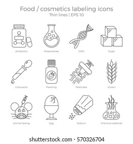 Food and cosmetics labeling icons set. Thin lines vector illustration of package marking elements. Dangerous components to avoid in healthy and natural products.