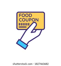 Food coupon RGB color icon. Charity organization. Feed homeless and jobless. Humanitarian help with hunger. Share dinner. Ticket to get soup. Food stamp for free meal. Isolated vector illustration