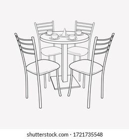 食品コートのアイコン行エレメント。クリーンな背景に食品コートのアイコンラインを描いたベクターイラストで、ウェブモバイルアプリのロゴデザインに使用します。
