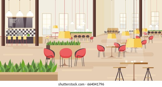 Food court in  shopping mall. Horizontal vector illustration with many seats. flat vector illustration.