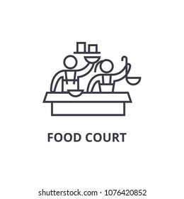 food court thin line icon, sign, symbol, illustation, linear concept, vector