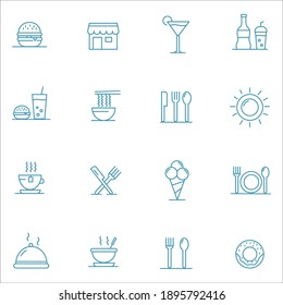 Food courts icons set. Outline set of food courts vector icons.