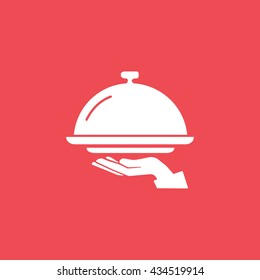 Food Cover On Hand Flat Icon On Red Background