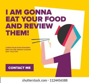 Food Critic / Writer. Restaurant Critic. Vector Illustration of A Person Eating Noodles with Chopsticks. Food Review Concept.
