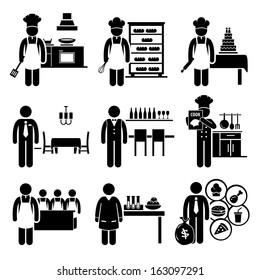 Food Culinary Jobs Occupations Careers - Cook Master Chef, Baker, Pastry, Restaurant Manager, Bartender, Cookbook Author, Cooking Class Teacher, Scientist, Franchise - Stick Figure Pictogram