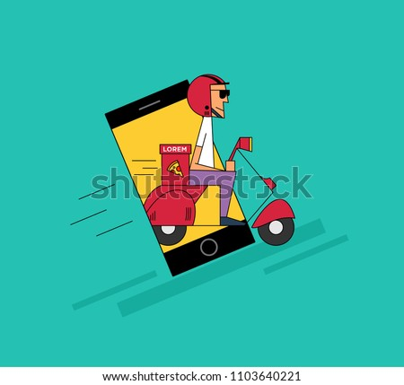 Ad Concept food delivery ad concept pizza delivery stock vector (royalty free