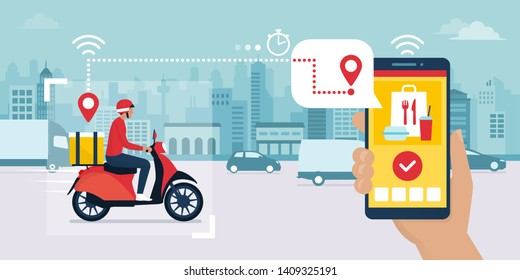 Food delivery app on a smartphone tracking a delivery man on a moped with a ready meal, technology and logistics concept, city skyline in the background