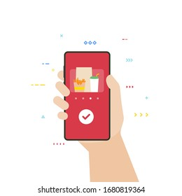 Food delivery application on phone. Fast food and menu order. Hand holding smartphone with food delivery app. Flat style vector illustration. Restaurant or fastfood delivery banner.