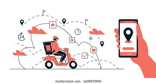 Food delivery. Application for food shipping on your smartphone, online order tracking, technology and logistics concept. A courier on a moped delivers a shipment. Vector illustration.