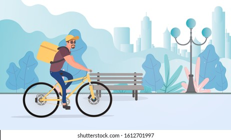 Food delivery by bike. The guy on a bicycle rides in the park. Bicycle delivery concept. Vector stock illustration.