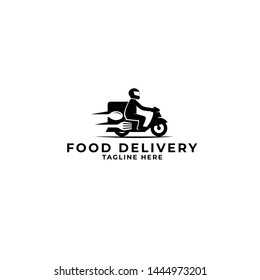 food delivery by motorcycle logo vector icon ilustration, online food delivery by motorcycle