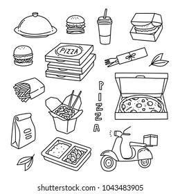 Food delivery and catering hand drawn doodle illustration with cloche, pizza boxes, hamburger, Thai food, scooter, French fries, soda drink.