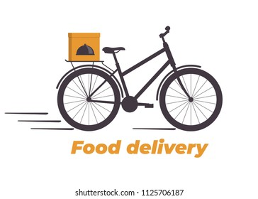 Food delivery design. Bicycle with box on the trunk. Food delivery service logo. Fast delivery. Flat vector illustration
