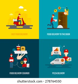Food delivery fast to the door and by courier flat icons set isolated vector illustration