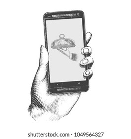 Food delivery. Hand drawn engraving style  retro vintage vector illustration of the modern smartphone. Hand holding a touch phone with hand of waiter holding tray with cloche on