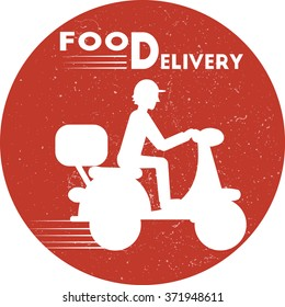Food delivery icon. Flat minimal vector illustration for web or print