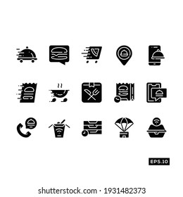 Food delivery icon set. Online food delivery icon Vector Illustration Template For Web and Mobile