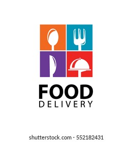 food delivery, icons, logo and illustrations, spoon, fork, knife
