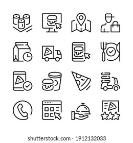 Food delivery line icons set. Modern graphic design concepts, simple outline elements collection. Vector line icons