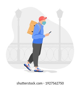 Food delivery man with orange backpack behind back is on his way to deliver food. Courier delivering food. Vector illustration. - Shutterstock ID 1927562750