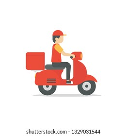Food delivery man riding a red scooter vector illustration