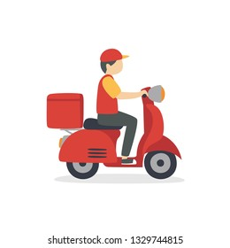 Food delivery man riding a red scooter vetor illustration