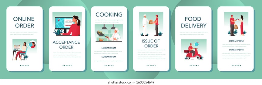 Food delivery mobile application banner set. Online delivery concept. Order in the internet. Add to cart, pay by card and wait for courier on moped. Vector illustration in cartoon style