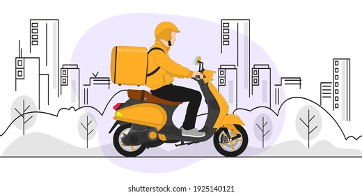 Food delivery moto scooter driver with orange backpack behind back is on his way to deliver food. Courier on scooter delivering food. - Shutterstock ID 1925140121