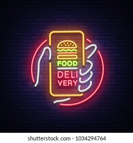 Food Delivery neon sign. Smartphone in hands, ordering food through smartphone, symbol in neon style, light banner, bright night neon advertising food delivery. Design template. Vector illustration