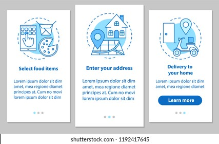 Food delivery onboarding mobile app page screen with linear concepts. Steps instructions. Online meal ordering. Select items, setting address, home delivery. UX, UI, GUI vector illustrations