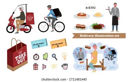 食べ物の配達と人物イラストセット